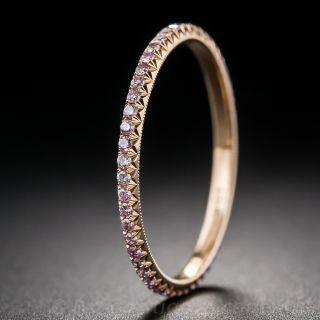 Natural Pink Diamond Band in 18K Rose Gold  - 1