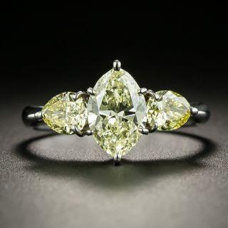 Natural Yellow Diamond Three-Stone Ring - GIA - 2