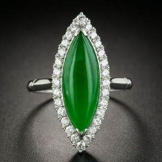 Navette Shaped Jade Cabochon and Diamond Ring - 1