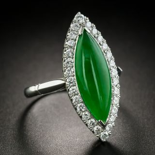 Navette-Shaped Jade Cabochon and Diamond Ring