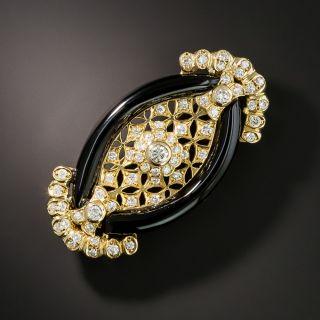 Navette Shaped Onyx and Diamond Brooch - 2