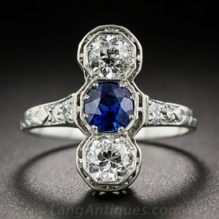 No-Heat Burmese Sapphire and Diamond Three Stone Dinner Ring - 2