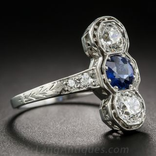 No-Heat Burmese Sapphire and Diamond Three Stone Dinner Ring