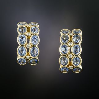 No Heat Ceylon Sapphire and Diamond Hoop Earrings - 1