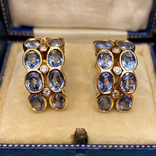 No Heat Ceylon Sapphire and Diamond Hoop Earrings