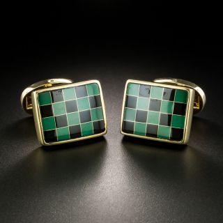 Obsidian and Malachite Checkerboard Cufflinks - 1