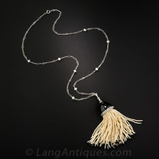 Onyx and Pearl Tassel Necklace - 1