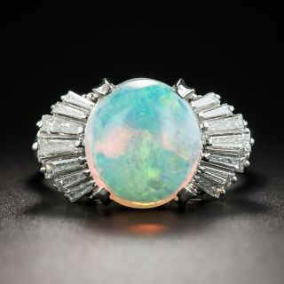 Opal Baguette Diamond Platinum Ring - 1