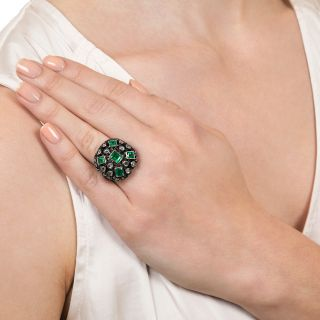 Ornate Victorian Emerald and Diamond Ring