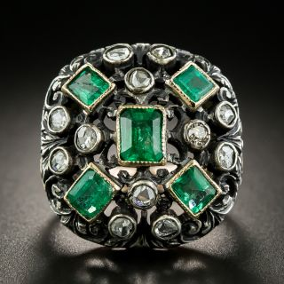 Ornate Victorian Emerald and Diamond Ring - 3