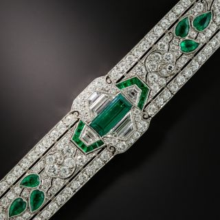 Oscar Heyman Art Deco Emerald and Diamond Bracelet - Circa 1920 - 1