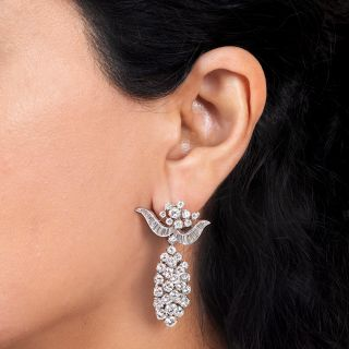 Oscar Heyman Diamond Cluster Drop Earrings
