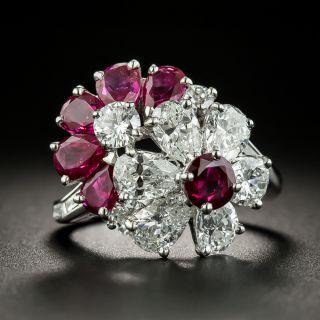 Oscar Heyman Ruby Diamond Platinum Flower Ring - 3