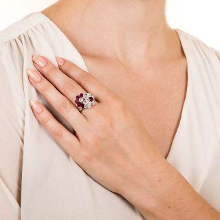 Oscar Heyman Ruby Diamond Platinum Flower Ring