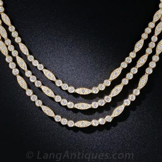 Oscar Heyman Triple-Strand Diamond Necklace - 22 Carats - 1