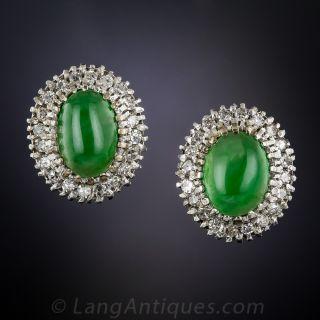 Vintage Natural Jade and Diamond Halo Earrings - 1