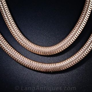 Pair of Retro Rose Gold Serpentine Neckchains