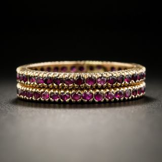 Pair of Ruby and Rose Gold Eternity Bands - Size 8 1/2 - 2