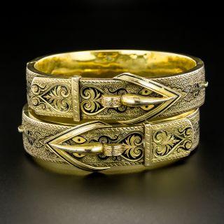 Victorian Black Enamel Buckle Motif Pair of Bangle Bracelets - 2