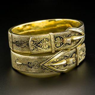 Pair Of Victorian Black Enamel Buckle Motif Bangle Bracelets