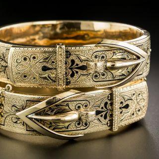 Pair Of Victorian Black Enamel Buckle Motif Bracelets - 2