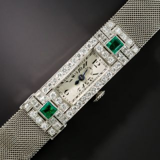 Patek Philippe/Tiffany & Co. Art Deco Emerald and Diamond Watch - 2