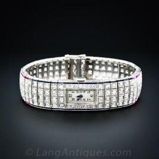 Patriotic Art Deco Diamond Bracelet Watch - 1
