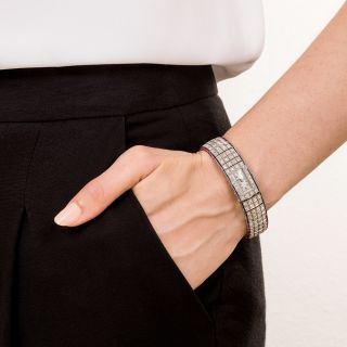 Patriotic Art Deco Diamond Bracelet Watch