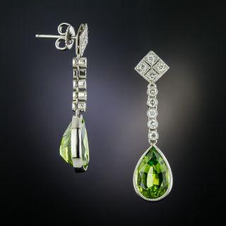 Peridot and Diamond Drop Dangle  Earrings - 1