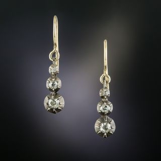 Petite Georgian Antique Three-Diamond Earrings