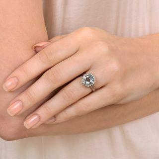 Petite Aquamarine and Diamond Halo Ring