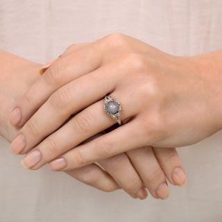 Art Deco Gray Star Sapphire and Diamond Ring