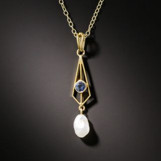 Petite Arts & Crafts Sapphire and Pearl Pendant - 2