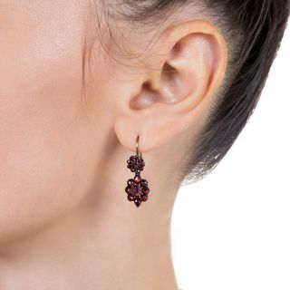 Petite Bohemian Garnet Drop Earrings
