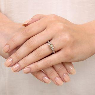 Petite Cats-Eye Chrysoberyl and Diamond Ring