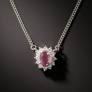 Petite Pink Sapphire Platinum Diamond Drop - 2