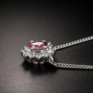 Petite Pink Sapphire Platinum Diamond Drop
