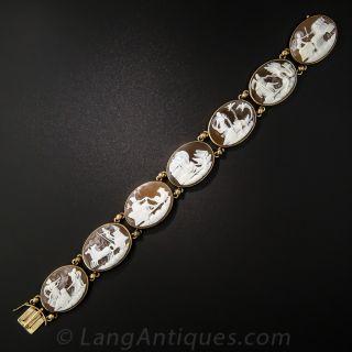 Pictorial Mythological Cameo Link Bracelet - 4