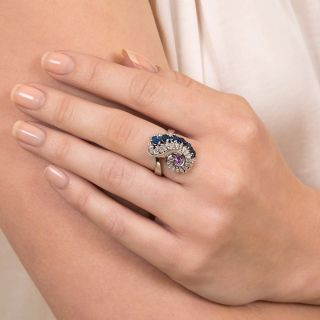Pink and Blue Sapphire and Diamond Swirl Ring