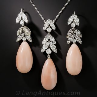 Pink Coral and Diamond Necklace and Earring Set - 1
