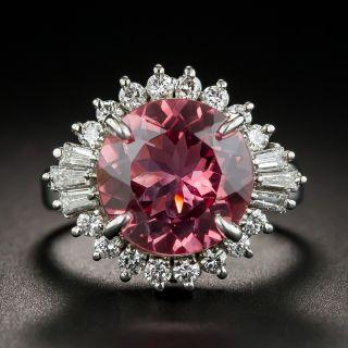 Pink Tourmaline Platinum Diamond Ring - 1