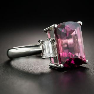 Pink Tourmaline Platinum Diamond Ring