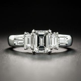 Platinum 1.25 Carat Emerald-Cut Diamond Engagement Ring - GIA F I1 - 1