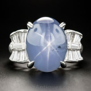 Platinum 16.50 Carat Star Sapphire and Diamond Ring - 1