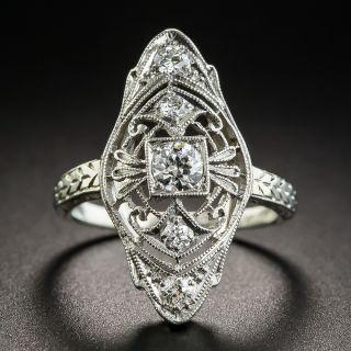 Platinum & 18K Edwardian/Deco Diamond Dinner Ring by Belais - 1
