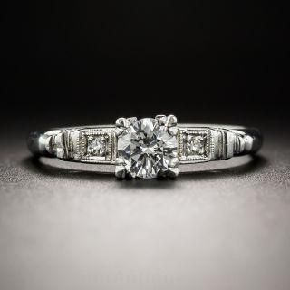 Platinum .40 Carat Diamond Mid-Century Engagement Ring - GIA F VS2