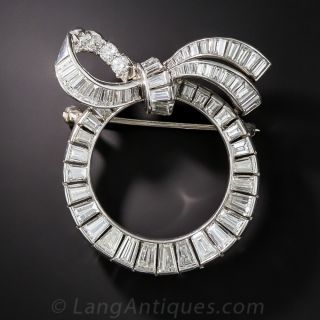 Platinum and Diamond Wreath Bow Pin - 1