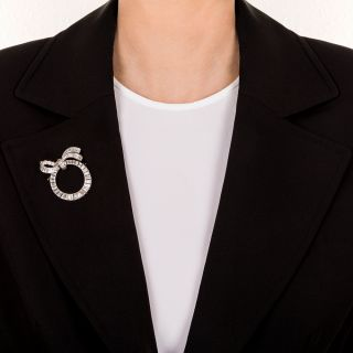 Platinum and Diamond Wreath Bow Pin