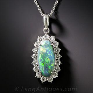 Platinum Black Opal and Diamond Pendant  - 1