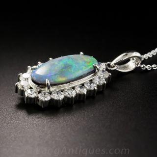 Platinum Black Opal and Diamond Pendant